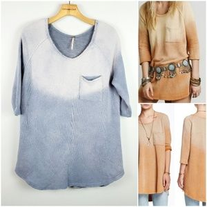 Free People Afternoon Blue Ombre distressed Top XS